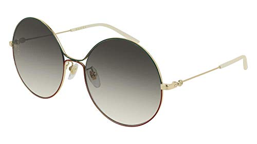 Gucci GG 0395S 003 Green Red Gold Metal Round Sunglasses Grey Gradient Lens (Sunglasses Womens Gucci Grey)
