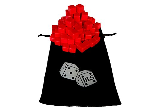 100 Blank Red Dice 16MM with FREE Storage Bag