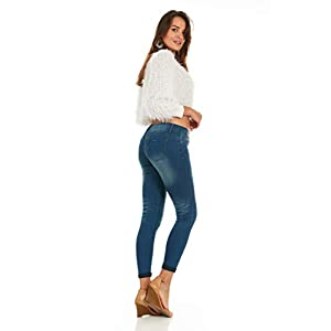 Basic Cuffed Skinny Jeans for Women Juniors and Plus Size