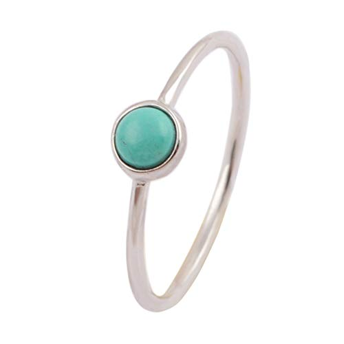 ZENGORI 1 Piece 5MM 925 Sterling Silver Round Natural Turquoise Ring Size 7 ()
