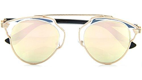 Glamour Metal Crossbar Aviator Sunglasses Chic Runway Fashion (Rose Gold, - Hispter Glasses