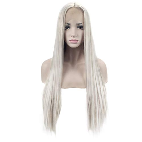 Natural Looking Dark Roots Long Ombre Blonde Wig Straight Hair Synthetic Lace Front Wigs UK For Women Side Part Heat Resistant Fiber 24 Inches(beautiful) ()