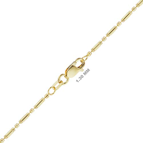 ITI Precious Genuine 585 14K Gold Alternating Bead Chain in Solid 14K Yellow Gold (1.30, 18in)