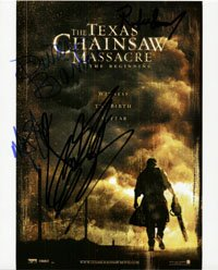 Signed Texas Chainsaw Massacre : The Beginning 8x10 By Diora Baird, Andrew Bryniarski, R. Lee Ermy and Mike Vogel autographed - R Lee Ermy