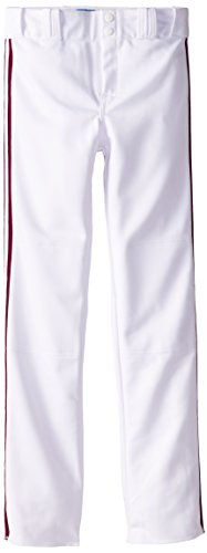 Louisville Slugger Boy's Triple-Crown Heavy Nylon Boot Cut with Braid Trim Pants, White/Maroon Braid, Large