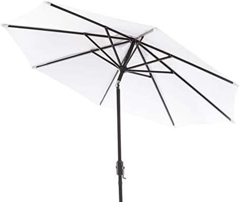 Safavieh PAT8001F Outdoor Collection Ortega White Uv Resistant 9 Ft Auto Tilt Crank Umbrella