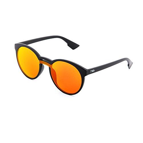 Naranja sol mujer hombre GOYA espejo Negro de TWIG Gafas redondo BwxqZz5q0