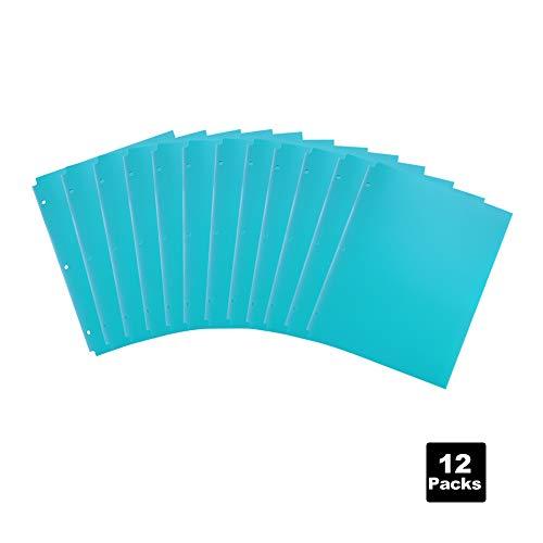 COMIX 2 Pocket Letter Size Poly File Portfolio Folder with 3-Hole Punch - 12 Pack (Light Blue) A2140-LB ()