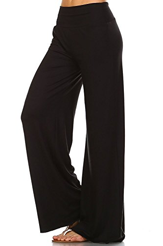Simplicitie Women's Plus Size Casual Wide Leg High Waist Bohemian Palazzo Pants – Black, 1X – Made in USA