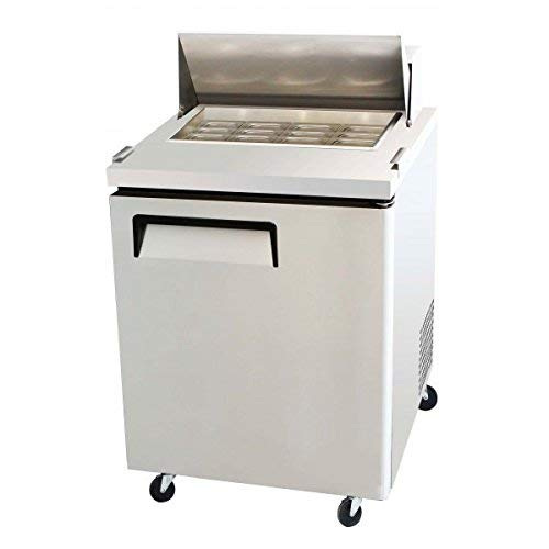 "28"" 1 Door Commercial Refrigerated Mega Top Salad Sandwich Prep Station Table Cooler Fridge, MSF8305, 12 Pans, 8 Cubic Feet, Cutting Board, for Restaurant"