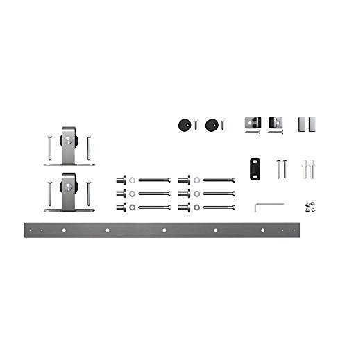 Architectural Products 48'' Mini Barn Door Hardware Kits for Single Cabinet Doors Top Mount Design in Stainless Steel FSDH-TOPMTKIT-SS-4 trimmable down to 43'' by Architectrual Products By Outwater (Image #1)