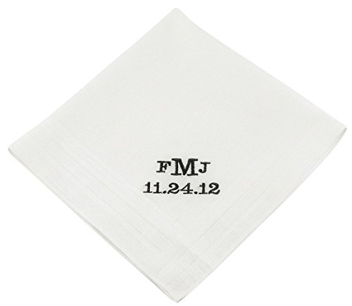 Wedding Collectibles Block Monogram Groom's Wedding Handkerchief