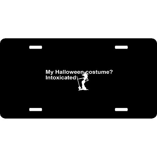URCustomPro My Halloween Costume is Intoxicated Funny Drunk Witch Personalized Novelty License Plates Cover, Decorative Auto Car Front Sign Tag for US Canada Vehicles 4 Holes (12
