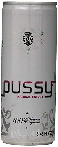 Pussy Natural Energy Drink | Naturally Sweetened and Flavored Drink | Healthy, Vegan and Gluten Free | Natural Caffeine | Great Tasting and Hydrating Energy Drink | 250 Mililliter Cans (Pack of 12) ()