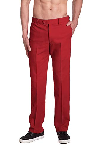 CONCITOR Men's Solid RED Color COTTON Dress Pants Flat Front Trousers sz 38 x 32