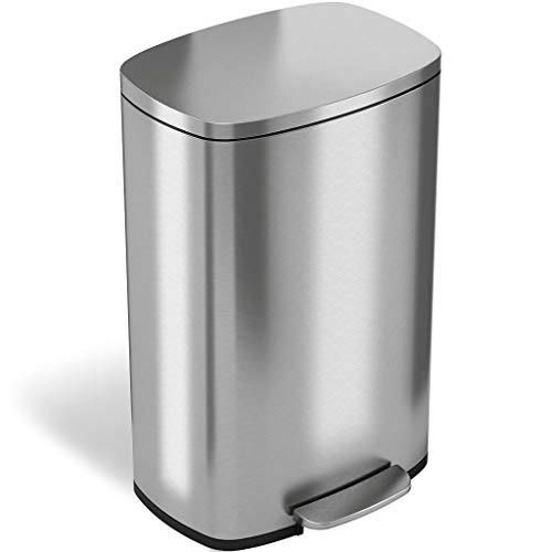 iTouchless SoftStep 13.2 Gallon Stainless Steel Step Trash Can with Odor Control System, 50 Liter Pedal Garbage Bin for Kitchen, Office, Home - Silent and Gentle Open and -