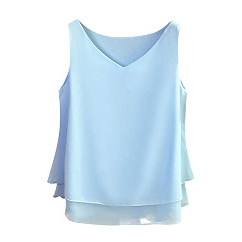 Sanyyanlsy Fashion Women's Sleeveless Chiffon V-Neck Vest Layed Ruffled Solid Color Top T-Shirt Casual Loose Tank Top Light Blue