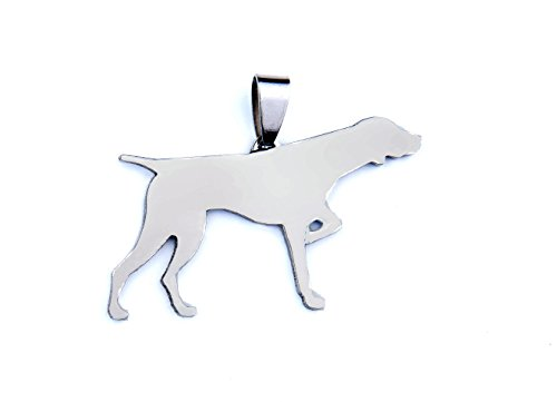 (Stainless Steel English Pointer Dog Silhouette Pet Dog Tag Breed Collar Charm Pendant Necklace)