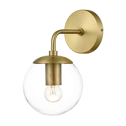 Light Society Brushed Brass and Clear Glass Zeno Globe Wall Sconce, Mid Century Modern Retro Vintage Style