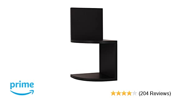 Kiera Grace Priva 2-Tier Corner Shelf, 7.75-Inch by 7.75-Inch Per Tier, Black