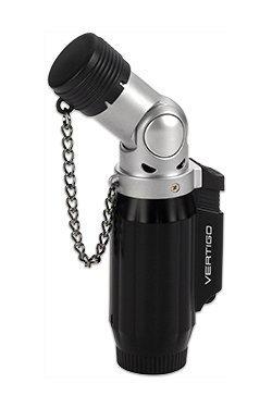 Vertigo Intimidator Quadruple Flame Torch Lighter Black & Chrome by Integral/Lotus