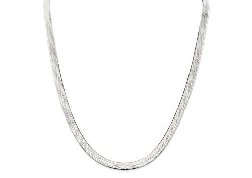 Silver Collar Sterling (Verona Jewelers Sterling Silver 7MM Herringbone Flat Snake Magic Chain - Sterling Silver Flat Necklace for Men and Women (16))
