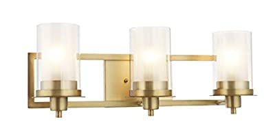 Designers Impressions Juno Brushed Brass 3 Light Wall Sconce/Bathroom Fixture with Clear and Frosted Glass: 73487