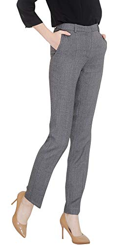 (Marycrafts Women's Office Work Dress Slacks Pants Trousers Tall L Gray)