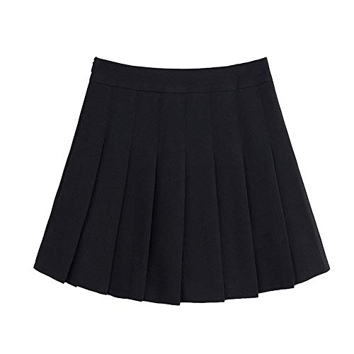 (Naughtyspring Womens Basic Fashion Solid Slim High Waist Pleated Tennis Short Skirt with Flounce (xx-large, black))
