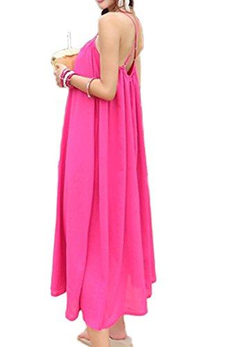 Vestido de sencillo suelto Maxi Swing playa de las mujeres RoseRed