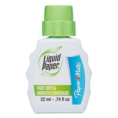 Fast Dry Correction Fluid, 22 ml Bottle, White, 1/Dozen, Sold as 12 Each by Paper Mate (Image #1)