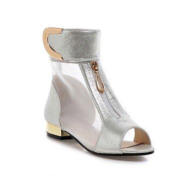 Sandalias mujer Primavera Verano Zapatos Club Comfort Polipiel Oficina &vestido de carrera bajo el talón Chunky Heel Hook &Loop negro ZipperSilver Silver