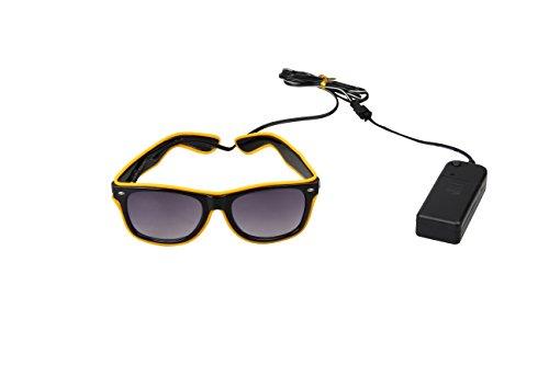 LED Light Up Glasses El Wire Rectangular Battery Power Rave EDM DJ Tron Party (Multiple Colors) (Yellow, - Tron Sunglasses