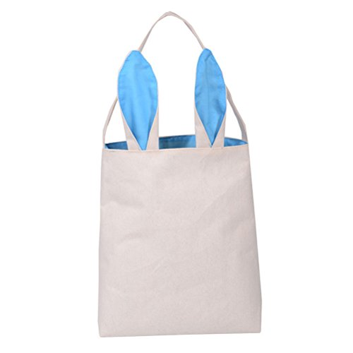 OULII Easter Bags Baskets Bunny Ear Bag Easter Gift Bag DIY Easter Eggs Packing Dual Layer Jute Tote Bag Party Favor (Sky Blue)