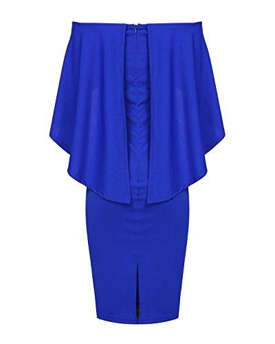 Mixfeer Women Off Shoulder Batwing Cape Midi Dress (Royalblue, XX-Large)