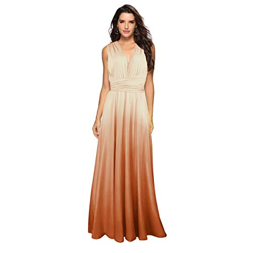 Women's Transformer Casual Gradient Color Deep V Neck Convertible Wrap Multi Way Dress Sleeveless Halter Formal Wedding Party Floor Length Cocktail Gown Long Maxi Dress Gradient Champagne Medium