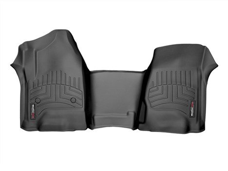 WeatherTech 2014-2015 Chevy Silverado 1500 Crew Cab Double Cab [Front Row Bench Seats/Over the Hump] Front Set Custom Floor Mats Liners - Black Weathertech Chevy