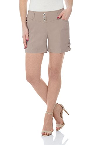 Rekucci Women's Ease Into Comfort Stretchable Pull-On 5 inch Slimming Tab Short (10,Khaki)