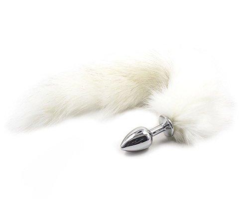 XIMAN Fox Tail Anal Plug, Anal stimulator, Stainless Anal Toys (Large, White)