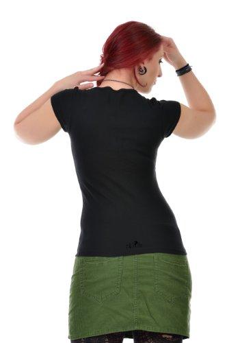 Damas Manga Cuello 3elfen Polvo Con Top Hadas Corta Camiseta Redondo Verano Mujer Negro Moda wqX6E7XR