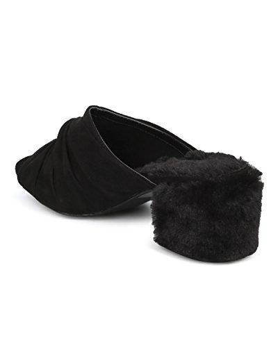 Collection Women Alrisco Dressy Fur Trendy Toe by Black HD03 Wild Diva Block Heel Block Heel Peep Heel Mule Suede Chunky Knotted Mule Faux qdHCdrw