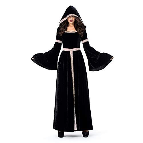 魔女衣装アダルトレトロコート衣装ハロウィーン/カーニバル/ホリデーハロウィーンコスチューム黒 (色 : ブラック, サイズ : XL)