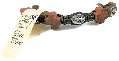 Dolfi Prayer Bead Bracelet -Hand Carved Olive Wood Beads Intertwined with Cord for Men or Women (Style-F)