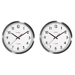 La Crosse Technology 404-1235UA-SS 14 Inch UltrAtomic Analog Stainless Steel Wall Clock (2-Pack)