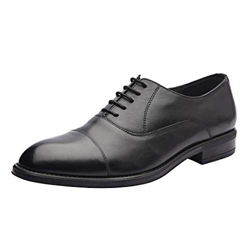 Allonsi Eric Cap Toe Oxford Black Men's Formal Genuine Leather Shoes and Tonal top-Stitching, high Shine Finish Stylish Look, Low Heels and Lace Up Shoes with Rubber Sole (Black, 10M US)