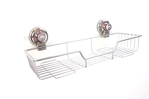 BlueHills Super Strong Premium Rust Proof Stainless-Steel Metal Suction Cups Kitchen, Shower Bathroom Long Tray Caddy, Soap Shampoo Makeup Spice - Kitchen and Shower Organizer, Caddy C001