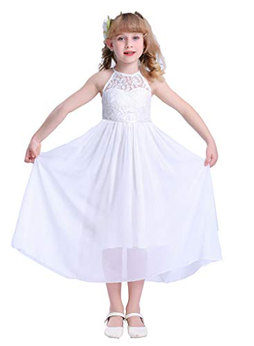 Happy RoseGirls LacePartyWeddingLongChiffonJuniorBridesmaidDress White 14