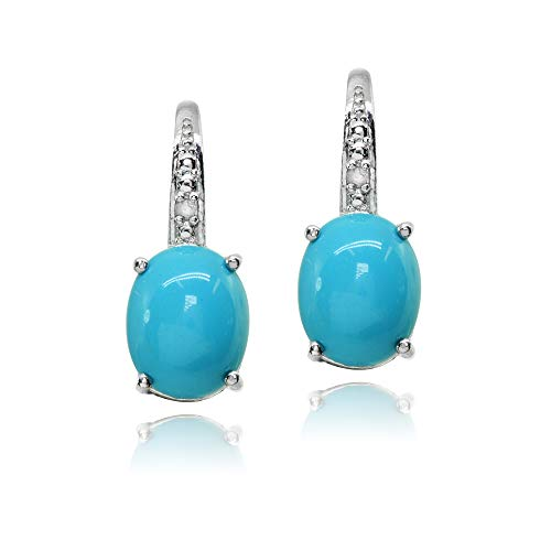 Sterling Silver Simulated Turquoise Oval Drop Leverback Earrings