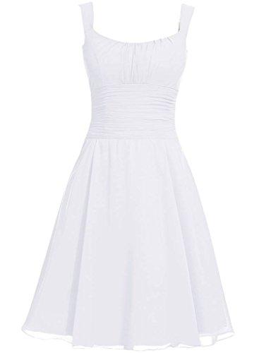 Robes En Mousseline De Soie Cdress Court Demoiselle D'honneur Bretelles Robes De Cocktail Robe De Soirée De Mariage Blanc