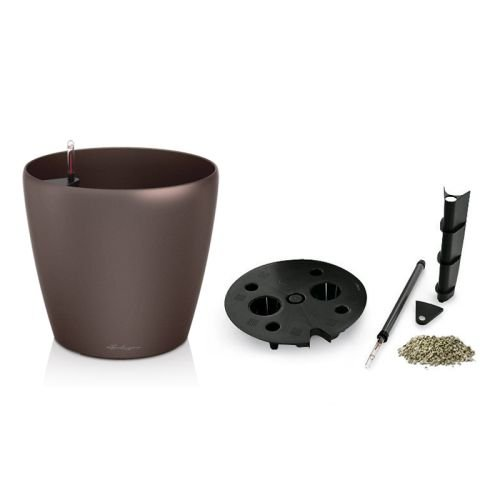 Lechuza EP-LCLA-ESP-28 28 x 25 in. Classico Premium Planter44; Espresso Metallic by Lechuza